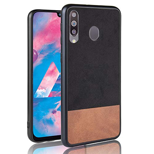 spak cover samsung galaxy m30,a40s custodia,bordo in tpu morbido + tessitura denim hard pc caso per samsung galaxy m30,a40s (nero)