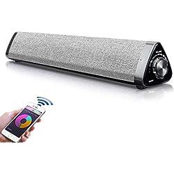 【Version Innovation】 Barre de Son TV, Bluetooth 5.0 Haut-Parleur, TV Soundbar, Cinéma Maison de Son pour PC, téléphone Portable,TV, Tablette, Son Puissant, RCA/AUX/Bluetooth, avec télécommande