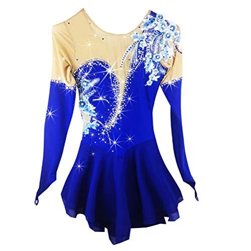 YunNR Klassisch Eiskunstlaufkleid Für Mädchen Aquamarin Blume Atmungsaktiv Handgemachte professionelle Eislaufen/Gymnastik Performance Kostüm Trikot Performance Rock, S (Blue Kostüm Halo)