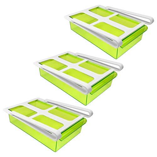 3x Kühlschrank Klemm Schublade - transparent grün, 15 x 20,5 x 7 cm (BxTxH), Kunststoff