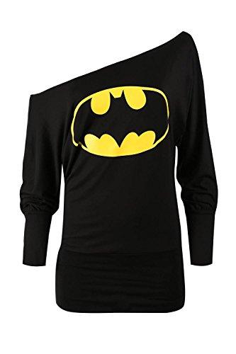 Womens Ladies Superman Batman Comic Hero Long Sleeve Batwing Off Shoulder Top