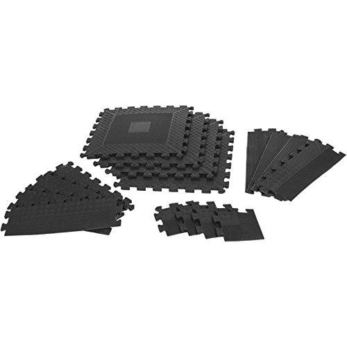 GORILLA SPORTS® Schutzmatten-Set mit Endstücken - Puzzle-/Unterleg-Matten 16-teilig Schwarz