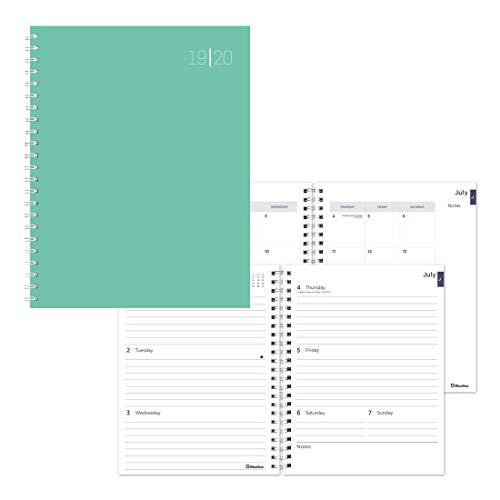 Aqua Bettbezug (Wöchentliche/monatliche Akademie, Juli 2019 bis Juli 2020, Doppeldrahtbindung, Lamination Bettbezug, einfarbig, Pastellfarben aqua)