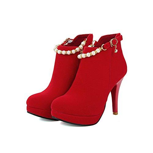 VogueZone009 Damen Rund Zehe Knöchel Hohe Stiletto Rein Mattglasbirne Stiefel mit Juwelen Rot