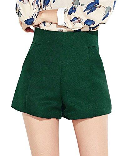 sourcingmap Femme Taille Haute Deux Poches Coupe Clepsydre Short Vert