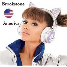 Edición Limitada Ariana Grande Inalámbrico Bluetooth Auricular de Oído de Gato Con altavoz Marco blanco moderno (conmutación entre 8 colores)