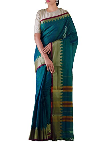 Unnati Silks Women Peacock Blue Pure Handloom Narayanpet Cotton Plain Saree