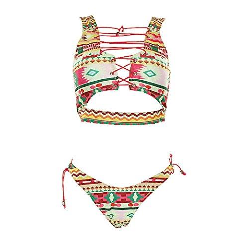 Tpulling Femme Lace Up bikini set push-up rembourré maillots [ maillot de bain femme 2 pieces ] yellow