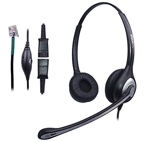 Casque Téléphone Fixe Dual RJ9 avec Micro Anti-bruit et Quick Disconnect, WANTEK Oreillette de Centre d'appel pour ShoreTel Polycom NEC Aspire Dterm Nortel Norstar Meridian Siemens ROLM(602QS2)