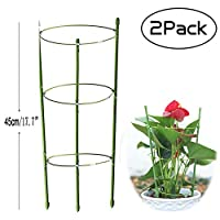 Anzmtos 2 Pack 45cm/17.7in Garden Plant Support Ring Large Size Garden&Outdoors Poeny Flower stainless Steel Support Climbing Vegtables&Flowers&Fruit Grow Cage Trellis with 3 Adjustable Rings (2PCS)