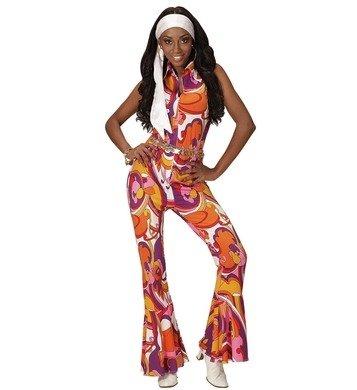 70er Jahre Jumpsuit Damen Kostüm Siebziger Schlager Retro Body Einteiler 70-er (Small, Orchideen lila pink gelb)