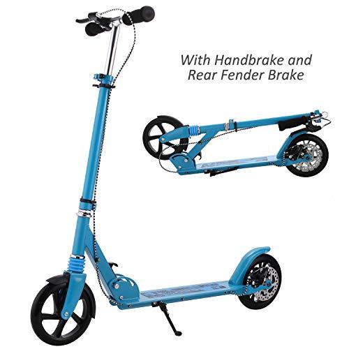 A2 Erwachsener Cityroller/Tretroller/Roller mit 3 Sekunden Klapp System, große Räder, verstellbarer Lenker, Scheibenbremsen, leichtes Kick Roller mit Aluminium T-Rohr und Fußständer,bis 220 lbs
