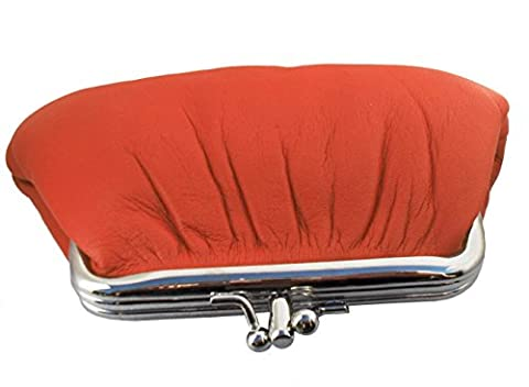 Soft Leather Clip Top Coin Purse (Orange)