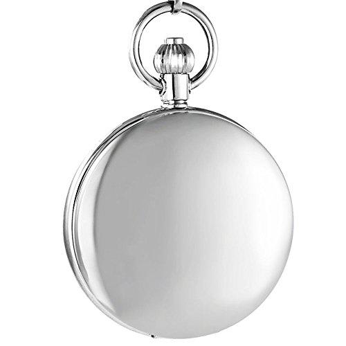 Ogle Impermeable Espejo Blanco Fases y Tourbillon Luna Colgante Collar Cadena Llavero Esqueleto automático mecánico Reloj de Bolsillo