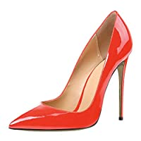 HAIYUGUAGAO Pointed Toe PU Leather Women Pumps Shoes Stiletto High Heels Sandals (Color : Red, Size : 6)