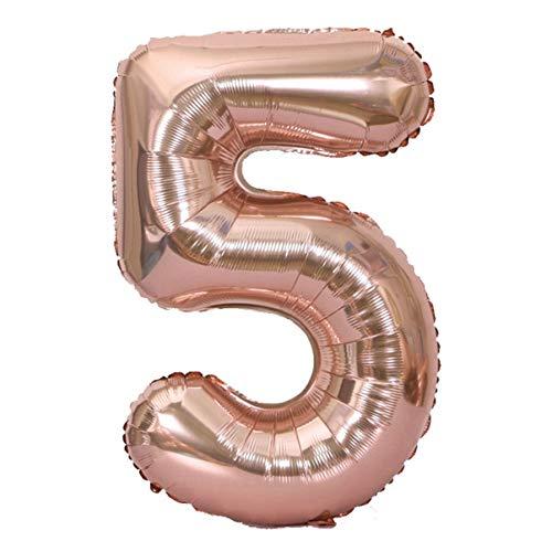 JullyeleESgant 40 Pulgadas de tamaño Grande número Globos de Papel de Aluminio Boda Feliz cumpleaños decoración de la Fiesta Globo de Oro Rosa Suministros