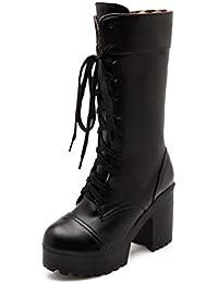 KUKI oto?o botas mujeres botas impermeables botas gruesas Martin botas botas grandes con tacones altos , US8.5...