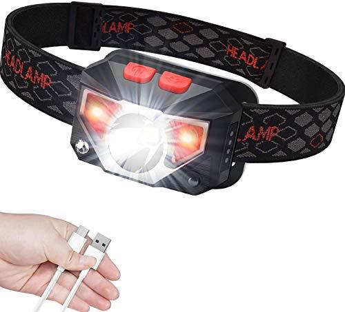 Anecity USB wiederaufladbare LED Stirnlampe Kopflampe, 800 Lumen super helle, IPX45 wasserdicht, COB LED Kopflampe Leichte Mini Stirnlampen für Outdooraktivitäten wie Laufen, Camping, für Kinder