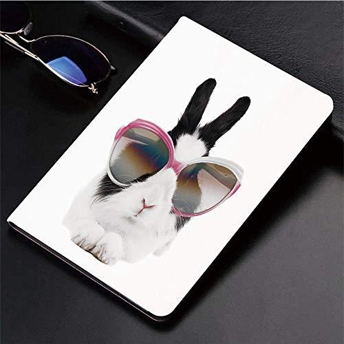 Kompatibel mit 3D-gedruckter iPad 9.7-Hülle,Lustiges, kleines Kaninchen in der Sonnenbrille Beauty Bunny ,Leichtes Anti-Scratch-Shell Auto Sleep/Wake,Rückseite Schutzabdeckung iPad9.7