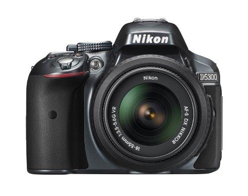 Nikon D5300 SLR-Digitalkamera (24,2 Megapixel, 8,1 cm (3,2 Zoll) LCD-Display, Full HD, HDMI, WiFi, GPS, AF-System mit 39 Messfeldern) Kit inkl. AF-S DX 18-55 VR Objektiv anthrazit (Nikon D5300 Kamera-kit)
