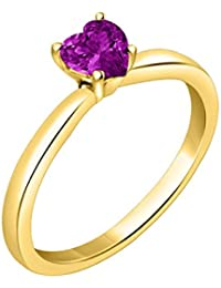 Silver Dew 925 Sterling Silver CZ Diamond Yellow Gold Plated Solitaire Heart Ring For Women & Girls