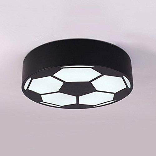 Runde Fußball Deckenleuchte LED Kinderzimmer Schlafzimmer, 5 Farben: Schwarz/Gelb/Grün/Rot/Blau, 3 Größen: Ø 40/50 / 60 CM, weißes Licht (Farbe: Schwarz 60 * 60 * 9 cm)