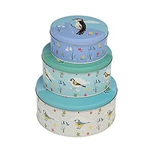 set of 3 round storage cake tins choice of design blue. Black Bedroom Furniture Sets. Home Design Ideas