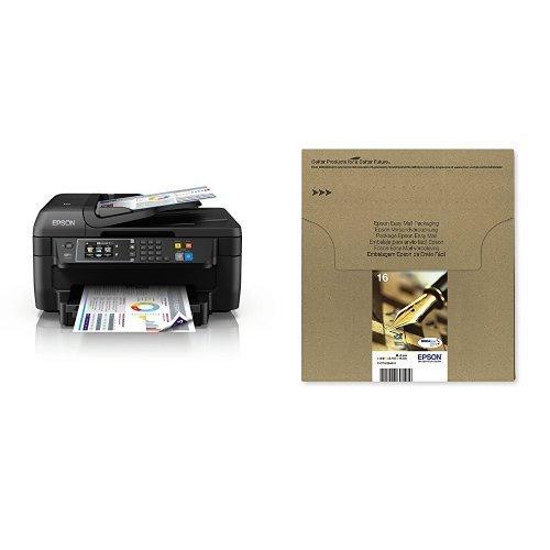 Epson WorkForce WF-2760DWF 4-in-1 Multifunktionsdrucker + Epson T16 Tintenpatrone Füller Multipack (Frustfreie Verpackung)