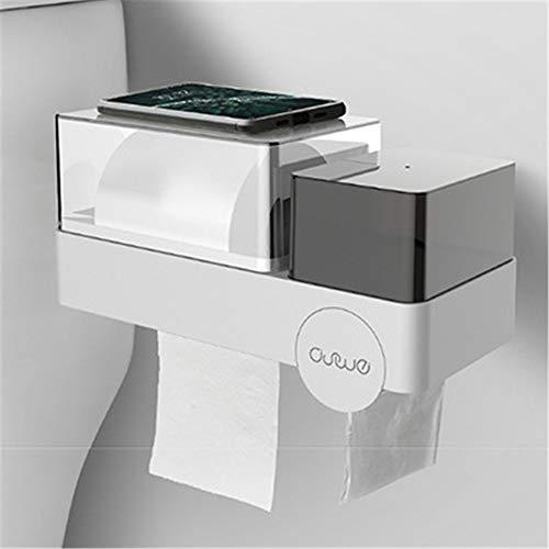Taifaheng Toilettenpapierhalter KlopapierrollenhalterMultifunktionale wasserdichte Badezimmer nagelfrei Nahtlose Aufkleber Handtuch Sanitär Baumwolle Müllsack Aufbewahrungsbox grau