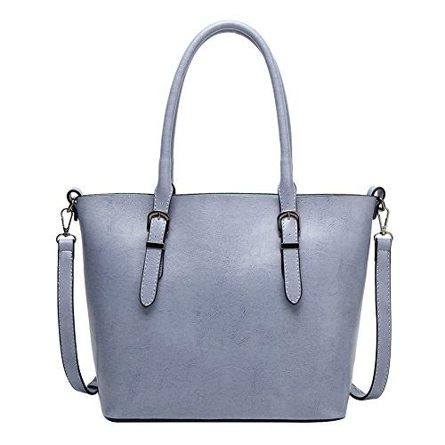 bdb03d131b82e PB-SOAR Damen Vintage Elegant Henkeltasche Schultertasche Ledertasche  Shopper Umhängetasche Handtasche (Blaugrau) Blaugrau
