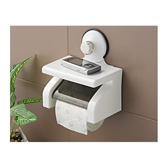Egab Waterproof Toilet Paper Holder Tissue Roll Stand Box with Shelf Rack Bathroom
