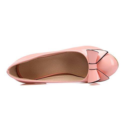 AllhqFashion Femme Pu Cuir à Talon Correct Rond Couleur Unie Tire Chaussures Légeres Rose