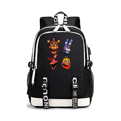 Dondonmin Five Nights at Freddy's Unisex Reiserucksack Laptop-Rucksäcke Sport Outdoor-Daypack Schulrucksackmit USB Charging Port (Outdoor Night Games)