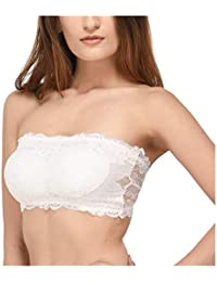 e4df349bc41dc BJAC Women s Sexy Full Lace Padded Strapless Tube Bra White (Removable  Pads) with Transparent