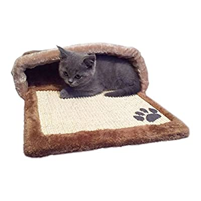 Charles Bentley Pets Soft Brown Cave With Scratching Pad H22Xw67Xd37 Cm Animal Habitat Winter Warm Durable Mat Cats Dog