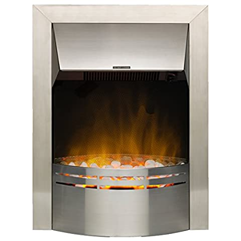 Dimplex 037084 DKT20 Dakota Electric Inset Fire with Optiflame Effect, 2 kW, 230 W, Stainless Steel