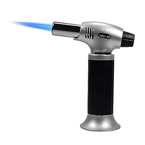 Flambierbrenner für Creme Brulee Küchenbrenner Butangasbrenner für Küche Flammentemperatur 1300°C 12*6*15,5cm 210g Butan inbegriffen nicht - Schwarz