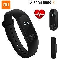 Fitness Tracker, Original Xiaomi Mi Band 2 Bluetooth 4.0 Wasserdicht Smart Herzfrequenz pedometers mit Silikon Ersatz Bracelet Armband mit 2 Stück Ultrathin Anti-Explosion Display Schutzfolie