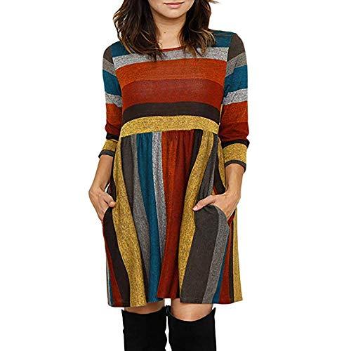 Qmber Kleider Damen Pullover Kleid Elegant Brautjungfernkleid Lange Ärmel Petticoat Ballkleid Hepburn Herbst Winter, Multicolor Streifen Print ()