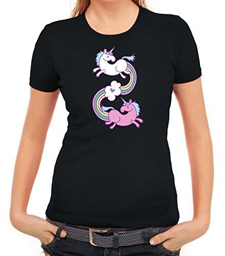 Einhorn Damen T-Shirt mit Unicorns In Love von ShirtStreet Schwarz
