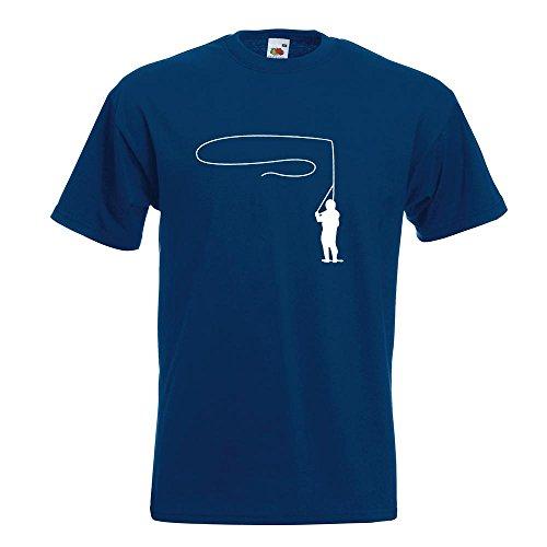 KIWISTAR - Fliegenfischen T-Shirt in 15 verschiedenen Farben - Herren Funshirt bedruckt Design Sprüche Spruch Motive Oberteil Baumwolle Print Größe S M L XL XXL Navy