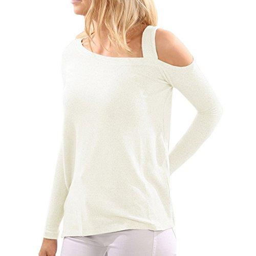 Dihope Automne Femme T Shirt Ourlet Irrégulier Épaules Dénudées Haut Court Top à Manches Longues Blouse Casual Blanc