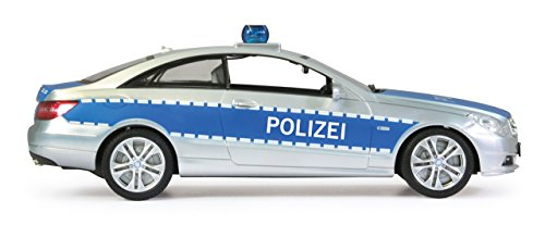 Jamara 410023 - Mercedes E350 Coupe 1:16 Polizei 2,4GHz - deutsche Polizeisirene, Alarmanlage, Startton, Beschleunigungston, Bremston, Hupe, Zusperrton, Signalleuchte, Blinker, 4 Geschwindigkeiten - 7
