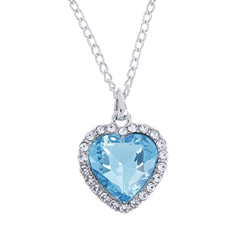Fasherati titanic blue heart love pendant necklace for girls  available at amazon for Rs.199