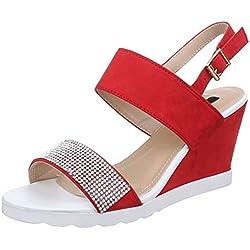 Damen Schuhe, 1414-KL, SANDALETTEN, PUMPS MIT RIEMCHEN, Synthetik in hochwertiger Wildlederoptik , Rot, Gr 37