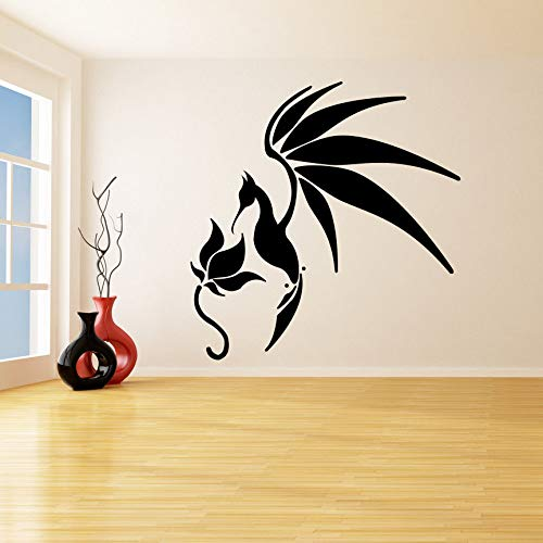 yaoxingfu A Bird with Open Wings Stops Flower Removable Wall Stickers for Living Room Vinyl Murals Wall Decals Quotes Bedroom Decor Black 84X86cm