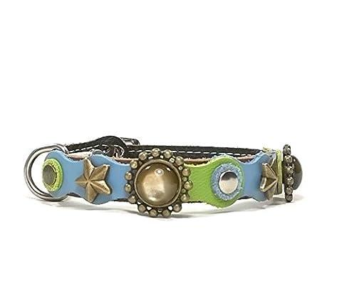Leder Katzen-halsband mit Elastisch Sicherheitsverschluss | Schöne Blau und Grüne Farbige Patches und Golden Sternchen