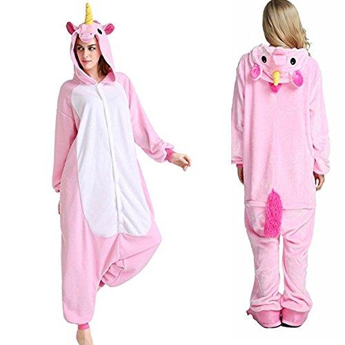 Einhorn Dinosaurier Adult Pyjama Cosplay Tier Onesie Body Nachtwäsche Kleid Overall kostüm Animal Sleepwear (Pink, M) (Dinosaurier-nachtwäsche)