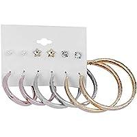 Silver Shine Stylish Fashion Earring Combo 3 Bali With 3 Studs Set For Women Girls
