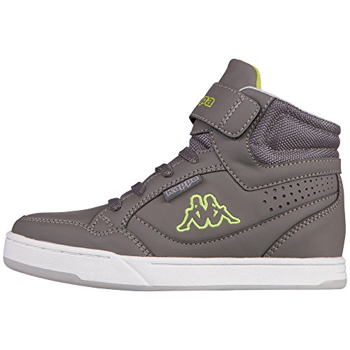 Kappa Forward Mid Kids, Baskets Basses Mixte Enfant, Gris-Grau (1333 Anthra/Lime), Taille 34
